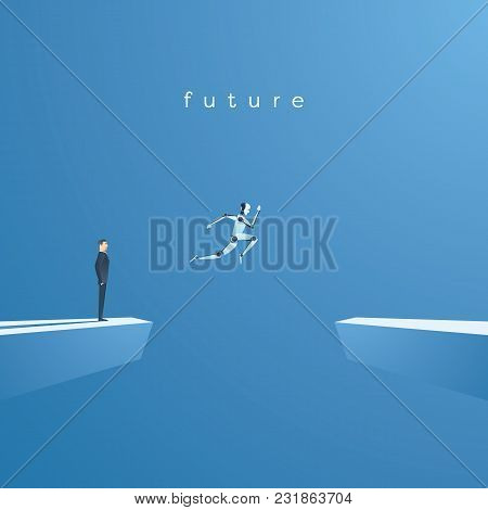 Ai Or Artificial Intelligence Vector Concept With Ai Robot Jumping, Leaping Into Future. Symbol Of T