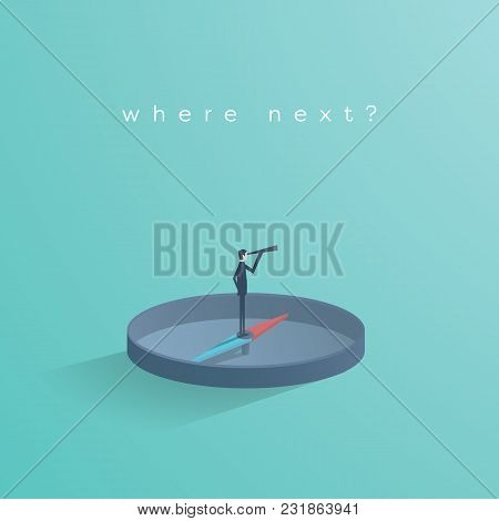 Business Direction Concept Vector With Businessman Standing On Compass Showing Direction. Symbol Of