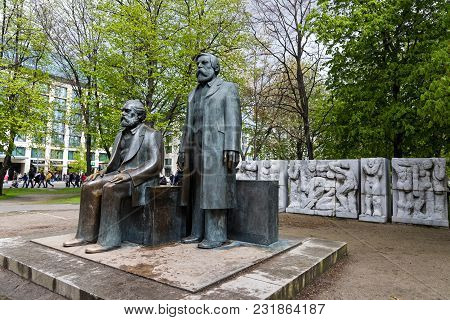 Berlin, Germany - April 16, 2017: The Statues Of The Fathers Of The Communist Idea, Karl Marx And Fr