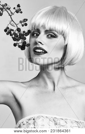 Sexy Glamour Girl Or Woman With Fashionable Makeup On Pretty Smiling Face And Short Hairstyle Or Pin