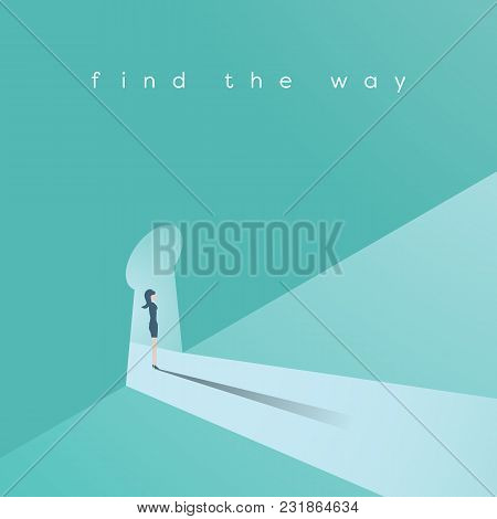 Businesswoman Standing In A Keyhole Vector Concept. Symbol Of Opportunity, Solution, Way For Women I