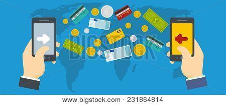 Money Transfer Banner. Flat Illustration Of Money Transfer Vector Banner For Web