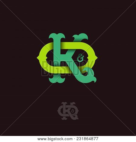 K And O Monogram. K And O Crossed Letters, Intertwined Letters Initials.