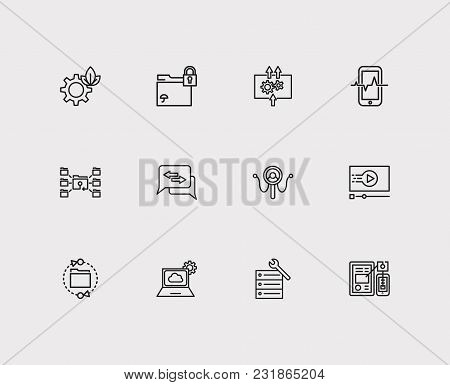 Tech Icons Set With Data Analytics, Mobile Application And Software Api. Set Of Tech Icons Also Incl