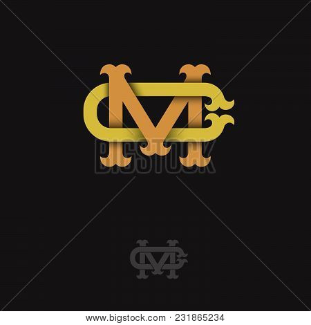 M And C Monogram. M And C Crossed Letters, Intertwined Letters Initials.