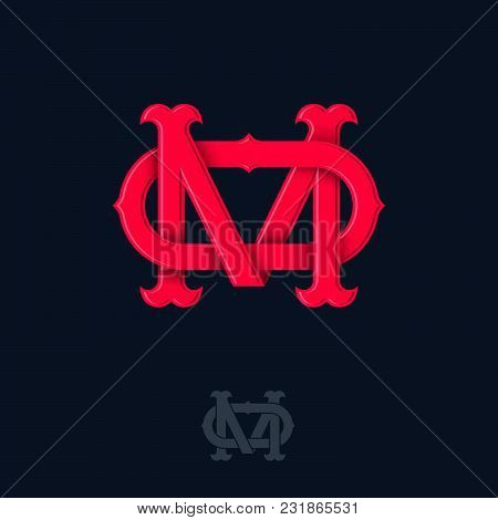 M And O Monogram. M And O Crossed Letters, Intertwined Letters Initials.