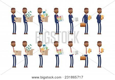 Carries Boxes, Gets A Job, Carries Money, Documents. Indian Businessman. Cartoon Character Set