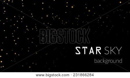 Night Sky With Gold Stars On Black Background. Dark Astronomy Space Template. Galaxy Starry Pattern