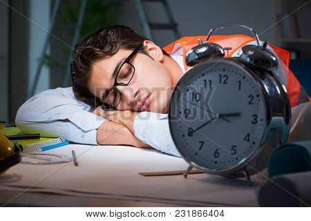 Sleeping architect after late long hours