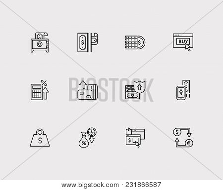 Mobile Payment And Finance Icons Set With Tax Calculator, Dollar And Payment Secure. Set Of Finance