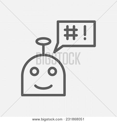 Ai Robot Icon Line Symbol. Isolated Vector Illustration Of Chatbot Sign Concept For Your Web Site Mo