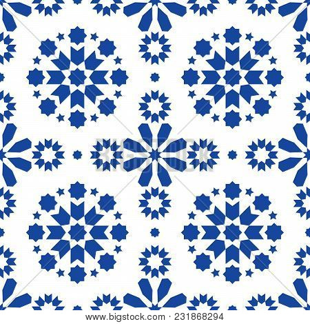Geometric Seamless Pattern Azulejos Tiles, Portuguese Blue Tile Design, Seamless Abstract Background