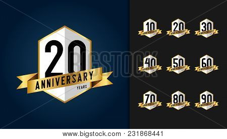 Set Of Anniversary Logotype. Anniversary Celebration Emblem With Ribbon Design For Booklet, Leaflet,