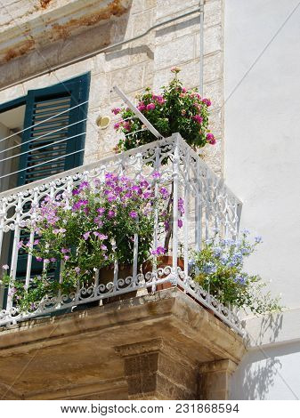 Typical White Houses And With Pink And Light Blue Flowers In Polignano A Mare