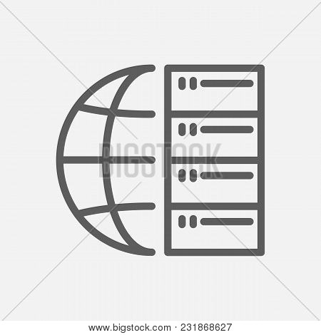 Big Data Icon Line Symbol. Isolated Vector Illustration Of Cluster Network Sign Concept For Your Web
