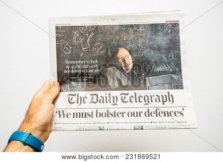 Paris, France - Mar 15, 2018: Pov At International Newspaper The Daily Telegrph With Portrait Of Ste