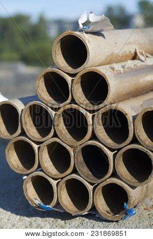 Closeup Of A Tube Of Used Fireworks Abstract Background