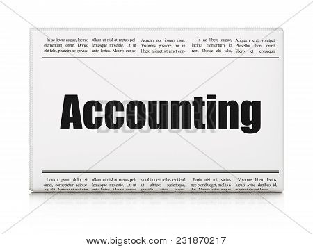 Currency Concept: Newspaper Headline Accounting On White Background, 3d Rendering