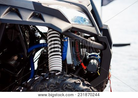 Atv Quad Bike, Close-up Of Details: Headlights, Shock Absorber.