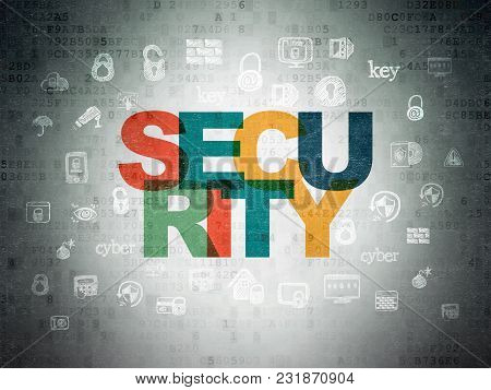 Safety Concept: Painted Multicolor Text Security On Digital Data Paper Background With  Hand Drawn S