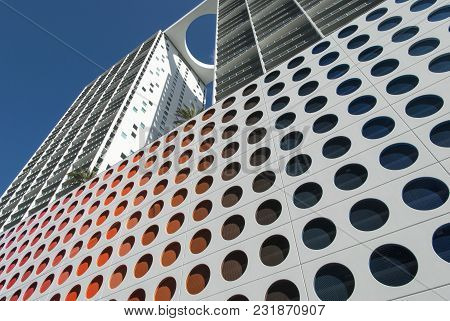 The Modern Apartment Building In Miami Financial District (florida).