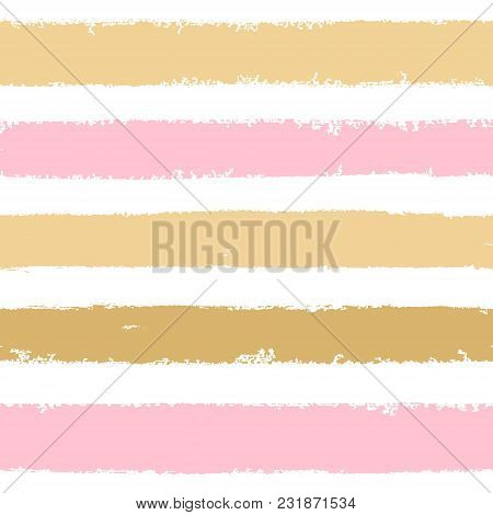 Hand Drawn Pink, Gold Ink Abstract Striped Seamless Pattern. Vector Grunge Texture. Paint Brush Smea