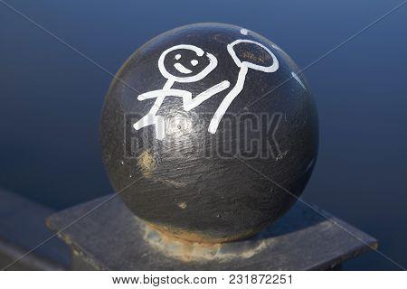 Black Cast Iron Ball Fence Bridge Close-up