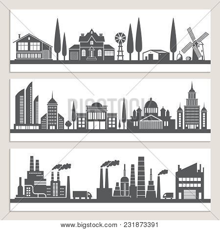 Set Of Horizontal Banners With Monochrome Illustrations Of Urban Landscapes. Silhouette Of Modern Bu