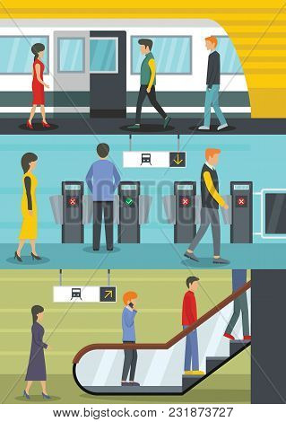 Subway Train Station Banner Concept Set. Flat Illustration Of 3 Subway Train Station Vector Banner H