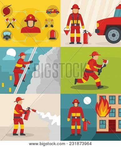 Fire Fighter Banner Concept Set. Flat Illustration Of 6 Fire Fighter Vector Banner Horizontal Concep