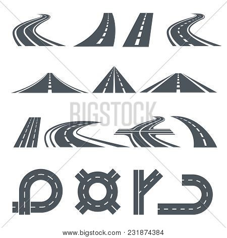 Isolated Vector Pictures Of Pathway, Different Roads And Long Highway. Illustration Of Road Pathway,