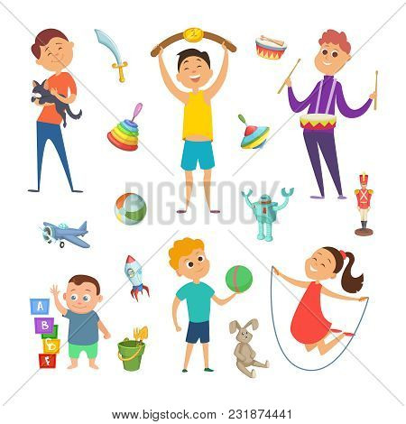 Playground With Funny Characters Of Childrens Which Playing At Different Active Games. Happy Activit