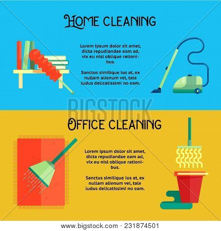 Flat Cleaning Service Banners Template Concept Vector Illustration