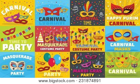 Carnival Mask Venetian Banner Concept Set. Flat Illustration Of 12 Carnival Mask Venetian Vector Ban