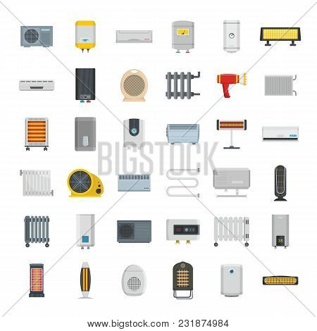 Electric Heater Device Icons Set. Flat Illustration Of 36 Electric Heater Device Vector Icons For We