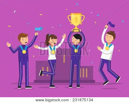 Sport Winners Celebrating Their Victory. Happiness People Sport Team Award And Winner, Victory Celeb