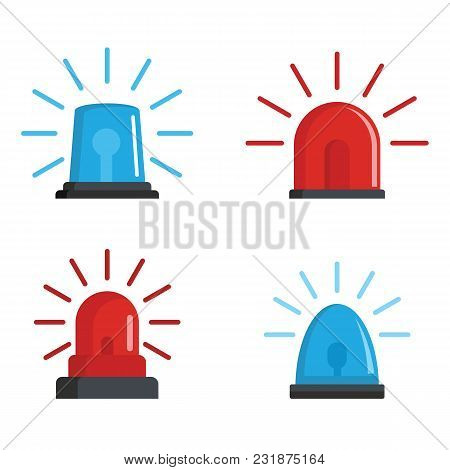 Flasher Siren Red And Blue Icons Set. Realistic Illustration Of 4 Flasher Siren Red And Blue Icons F