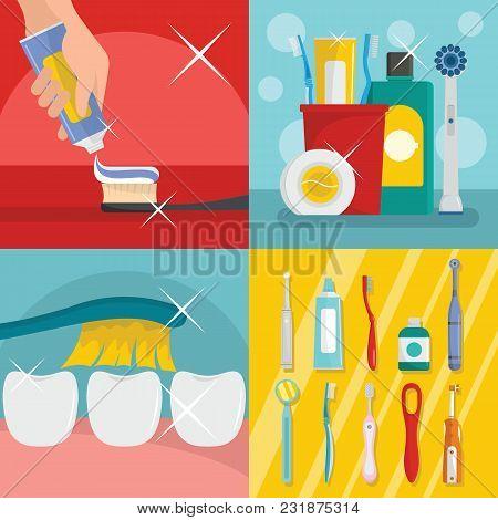 Toothbrush Dental Banner Concept Set. Flat Illustration Of 4 Toothbrush Dental Vector Banner Horizon