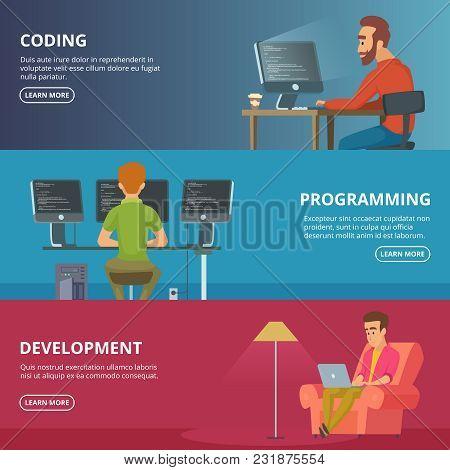 Horizontal Banners With Illustrations Of Designers And Programmers. Vector Programmer Man With Compu