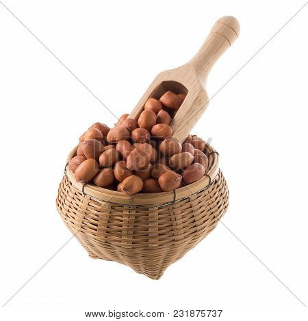 Raw Peanuts Isolated On A White Background