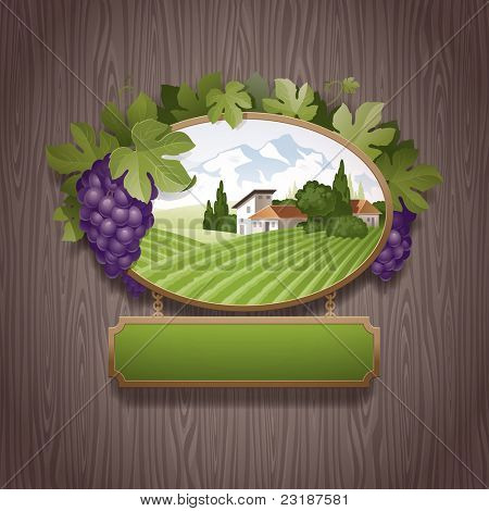 Vintage signboard with grapes and image of country landscape against a stone wall - vector illustration