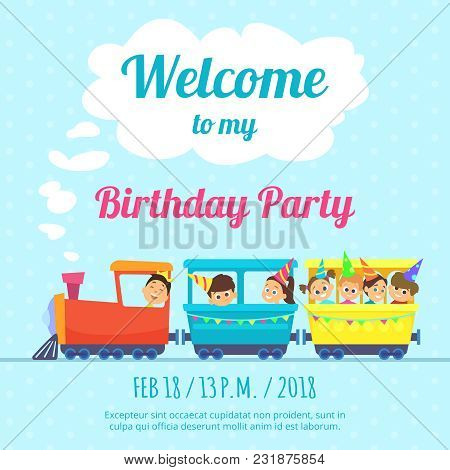 Design Template Of Poster For Kids Party Invitation. Illustration Of Train Toys. Vector Card Invitat