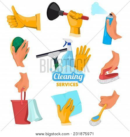 Colored Symbols For Cleaning Service. Hands Holding Different Tools. Vector Wash Tool Equipment In H