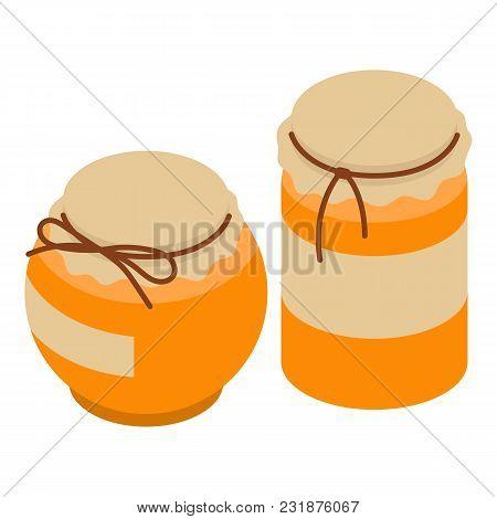 Honey Jar Icon. Isometric Illustration Of Honey Jar Vector Icon For Web