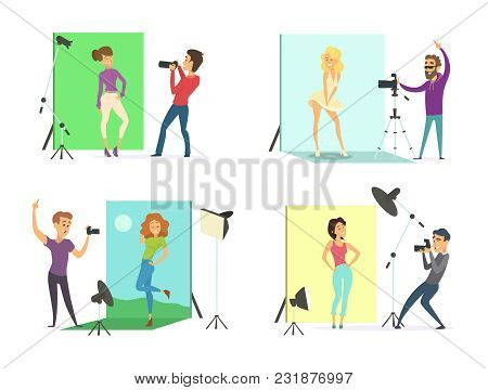 Models Male And Female Posing For Photos. Photographers At Works In The Photo Studio. Camera Profess