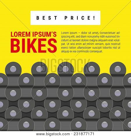 Grey And Yellow Vector Background Made Of Bike Or Bicycle Chain. Text Design And Realistic Detailed