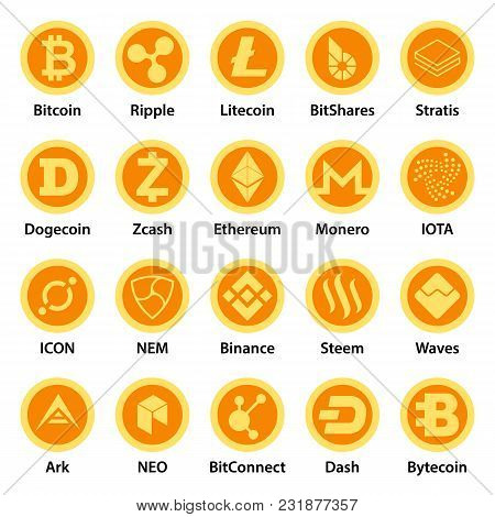Cryptocurrency Types Icons Set. Flat Illustration Of 25 Cryptocurrency Types Vector Icons For Web