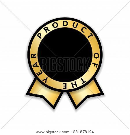Ribbon Award Best Product Of Year 2017. Gold Ribbon Award Icon Isolated White Background. Best Produ