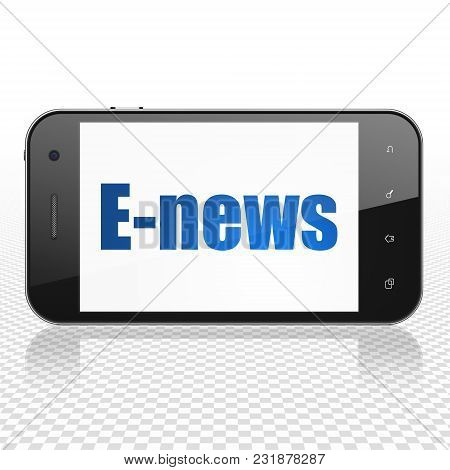 News Concept: Smartphone With  Blue Text E-news On Display,  Tag Cloud Background, 3d Rendering
