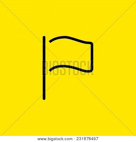 Line Icon Of Flag. Start, Pointer, Fan Flag. Celebration Concept. Can Be Used For Web Pictograms, De